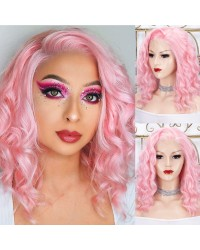 Baby Pink Short Bob Lace Front Wigs Bright Pink Synthetic Costume Wig for Cosplay Party 14 Inches