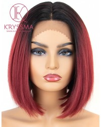 Ombre Burgundy Lace Front Wigs Short Bob Synthetic Wig Black Roots to Wine Red Ombre Lace Front Wig with Deep Middle Parting Heat Resistant
