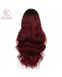 Ombre Wine Red Long Wavy Synthetic Non-Lace Wigs Burgundy 99j 22 Inches