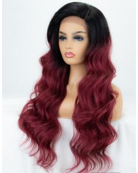 Ombre Wine Red Long Wavy L Part Lace Wig with Side Parting Dark Roots