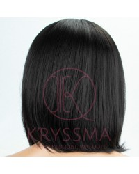 Black Straight Short Bob Synthetic Wigs with L Part