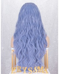 Violet Light Purple Long Wavy Lace Front Wig for Cosplay Party Costume