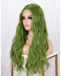 Fashion Green Long Wavy Lace Front Wig Glueless Wig for Cosplay Heat Resistant