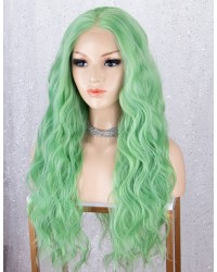 Light Green Long Wavy Lace Front Wigs Synthetic Wig for Cosplay Party 22 Inches
