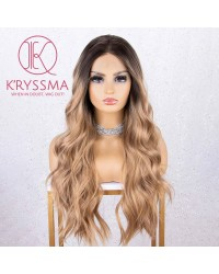 Dirty Blonde Lace Front Wig with Dark Roots Ombre Wavy Wigs