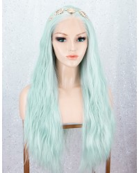 Light Green Slight Wavy Lace Front Wigs Long Synthetic Wig Heat Resistant