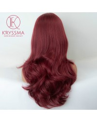 Burgundy Long Wavy Synthetic None-Lace Wig 20 inches