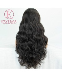 Black Long Wavy None Lace Synthetic Wig for Women 22 inches