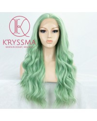 Green Long Wavy Synthetic Lace Front Wig Heat Resistant 22 inches