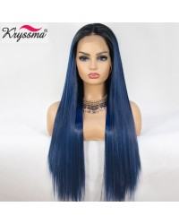 13x6 Ombre Blue Long Silk Straight Lace Front Wig