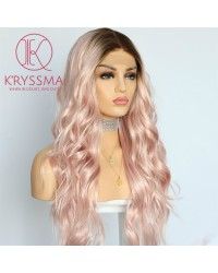 Baby Pink Long Wavy Ombre Lace Front Wig 22 Inches