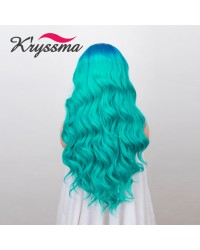 Bright Blue/ Fashion Turquoise Long Wavy Ombre Lace Front Wig 22 Inches