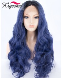 Ombre Blue with Dark Roots Long Wavy Synthetic Wig 24 Inches