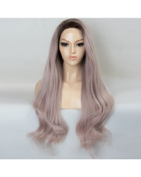 Japanese Fiber Hair Ombre Ash Pink with Dark Roots Wavy Long Synthetic Wigs 22 Inches