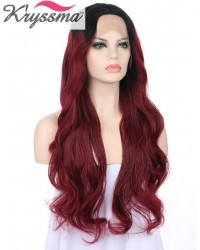 Dark Roots Burgundy Long Wavy Synthetic Wigs 24 Inches