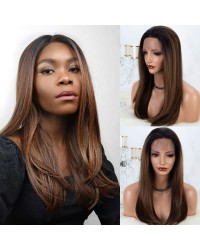 Brown Ombre Lace Front Wig with Dark Roots Medium Length 18 inch Natural Straight Glueless Synthetic Wigs for Women Half Hand Tied Hair Replacement Full Wig (KMLM19)