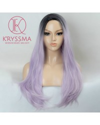 Ombre Purple Long Straight Synthetic Non-Lace Wigs with Black Roots 22 inch