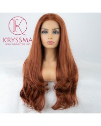 Reddish Blonde (Copper Red) Wavy Lace Front Wigs 24 Inches