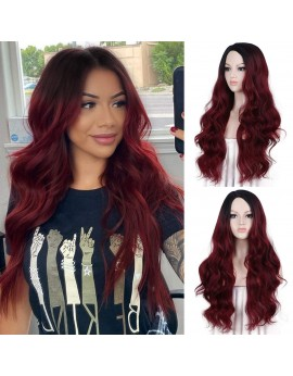 Ombre Burgundy Wig with Dark Roots Wine Red Synthetic 99j Wig for Cosplay 22 Inches