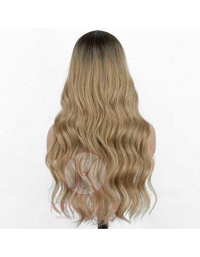 NEW ARRIVIAL! Ombre Ash Blonde Long Wavy Lace Wig Synthetic Wig with T Part and Dark Roots