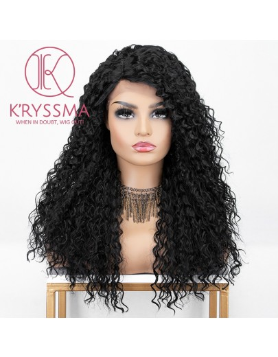 Curly Natural Black #1B Lace Front Wig 99j Long Synthetic Wigs For Women Heat Resistant