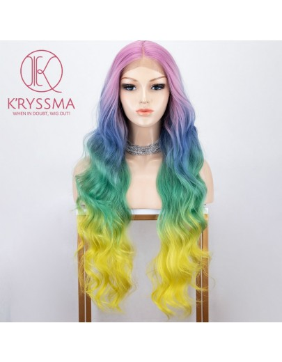 Rainbow Wig Colorful Lace Front Wigs Deep Middle Part Rainbow Long Wavy Snthetic Wig for Halloween 22/30 Inches
