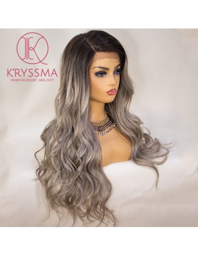 Olivia Recommend: Grey Lace Front Wig Ombre Long Wavy 22 Inches