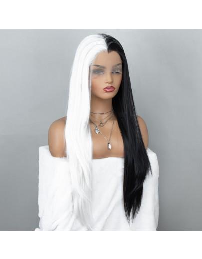 40% OFF! Cruella Wig Half White and Half Black Lace Front Wig Cosplay Wig