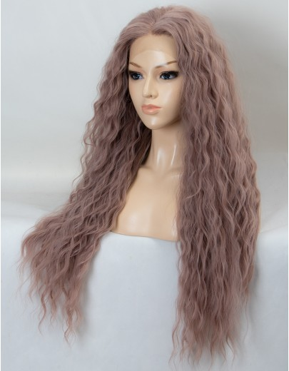 Ash Pink Long Wavy Synthetic Lace Front Wig