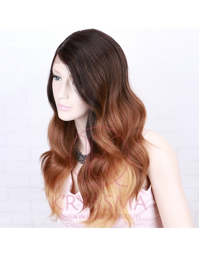 3 Tone Dark Roots to Brown to Blonde Ombre Synthetic Wigs Long Wavy Wig with L Part