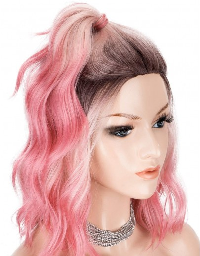 3 Tones Ombre Pink Dark Roots Middle Paring Short Wavy Wigs Glueless Heat Resistant Hair for Cosplay