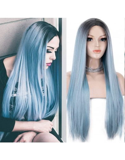 Fashion Blue Long Straight Ombre Synthetic Non-Lace Wig 22 Inches