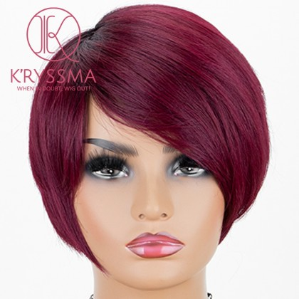 Ombre Dark Red Lace Front Wig With Dark Roots Short Wavy Synthetic Wigs Glueless Heat Resistant Bob Wig For Women
