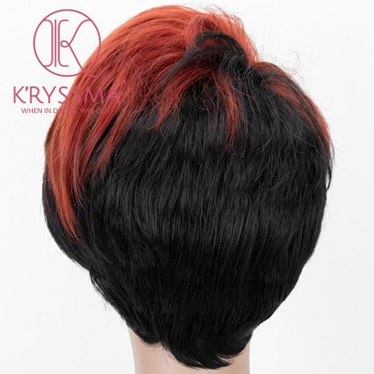 Orange To Black Lace Front Wig 2 Tones Short Wavy Synthetic Wig For Women Heat Resistant
