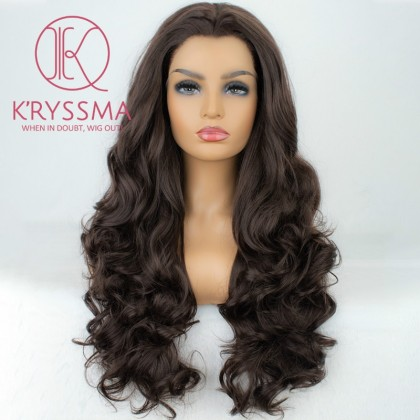 Chocolate Brown Long Wavy Synthetic Lace Front Wigs With Widow's Peak