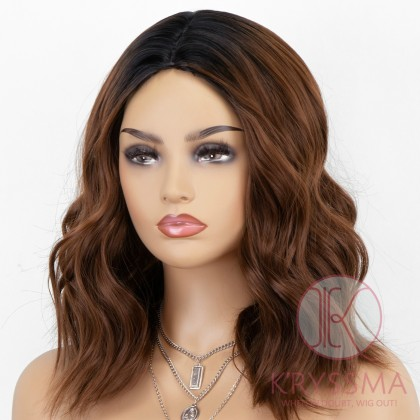 K'ryssma Wavy Bob Wig with Dark Roots Ombre Copper Wig Copper Red Short Synthetic Wigs with Middle Parting for Women