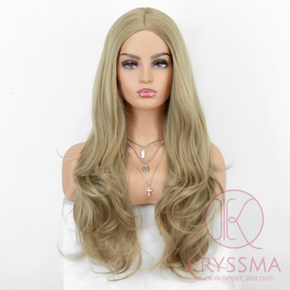 K'ryssma Long Wavy Ombre Blonde Wig Synthetic Wigs with Middle Parting for Women