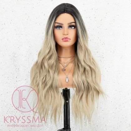 K'ryssma Ombre Blonde Wig with Dark Roots Blonde Long Wigs for Women 22 Inches Synthetic Wavy Wig