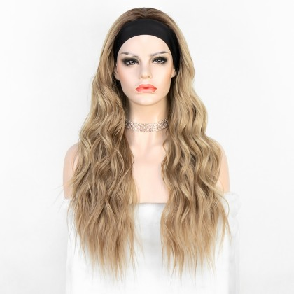 K'ryssma Highlight Blonde Long Wavy Heat Friendly Fiber Hair Synthetic Headband Wig