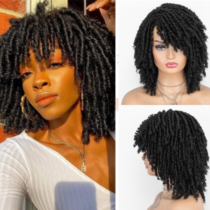 Dreadlock Twist Wigs for Black Women Braided Faux Locs Crochet Hair Wigs with Curly Ends Heat Resistant Afro Short Curly Daily Wigs 1b Color