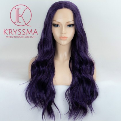 Purple Long Wavy Synthetic Lace Front Wigs 22 inches