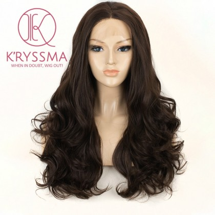 Chestnut Brown Long Wavy Synthetic Lace Front Wigs 20 inches