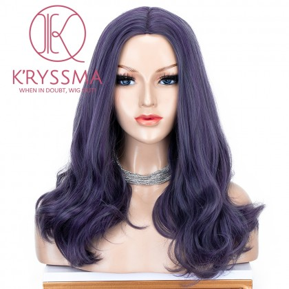 Purple None Lace Wig Short Wavy Synthetic Wig Dark Purple Cosplay Wigs For Women