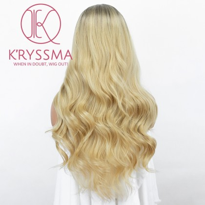 Ombre Golden Blonde Wig 20 Inches None Lace Natural Wavy Synthetic Wig With Middle Part 2 Tones Long Blonde Wigs Heat Reaistant