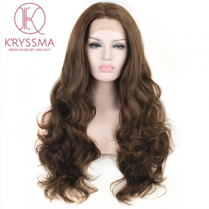Brown Natural Looking Long Wavy Synthetic Wigs 24 Inches