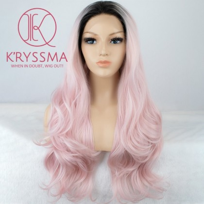 Ombre Pink Long Wavy Synthetic Wigs 22 inches