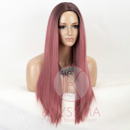 Ombre Pink Long Straight None-Lace Wig