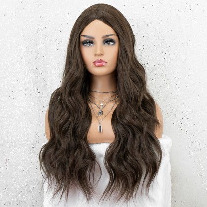 K'ryssma Brown Wig with Middle Parting Long Wavy Synthetic Wig for Women Full Machine Made 22 inches