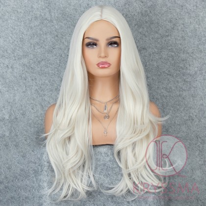 K'ryssma Platinum Blonde Glueless Synthetic Hair Wigs for Halloween Long Natural Wavy Full Wig For Women Heat Friendly 22 inches