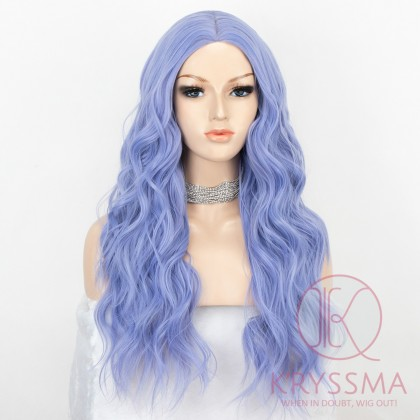 K'ryssma Purple Wig 22 Inches Long Wavy Wig with Middle Parting Purple Synthetic Wigs for Women Cosplay Wig